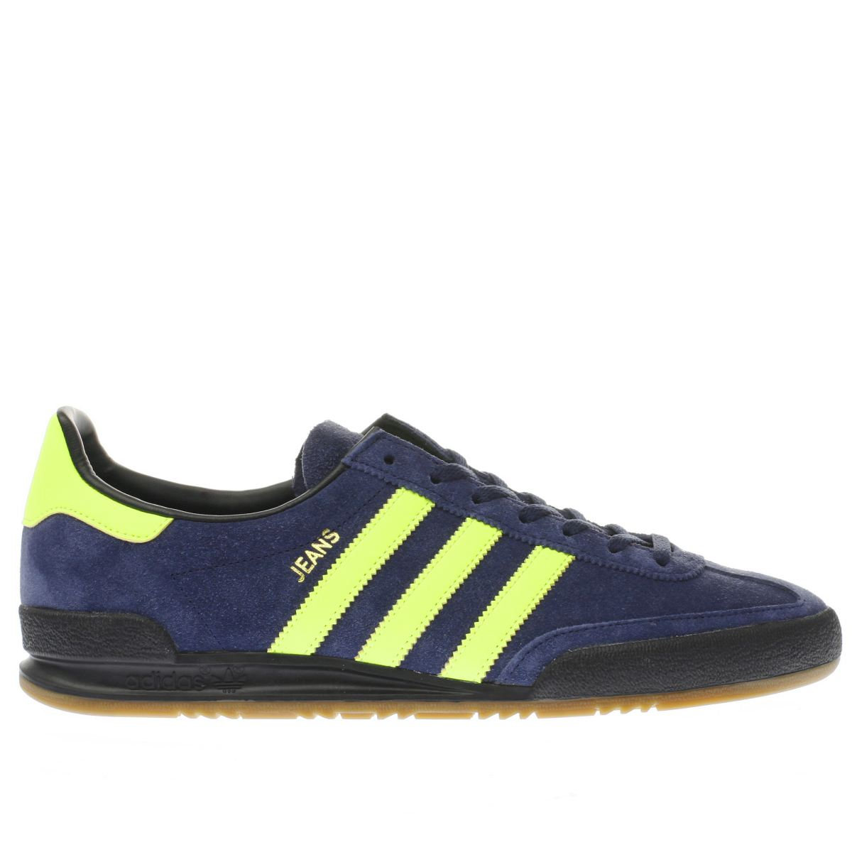 adidas navy & lime jeans trainers