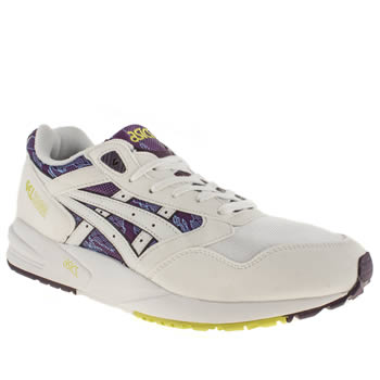 mens asics white & navy gel saga trainers