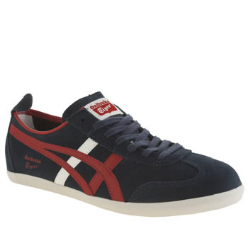 Mens Onitsuka Tiger Navy & Red Mexico 66 Vulc Trainers