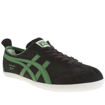 Mens Onitsuka Tiger Black & Green Mexico 66 Vulc Trainers