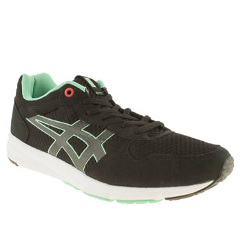 mens onitsuka tiger black & green shaw runner trainers