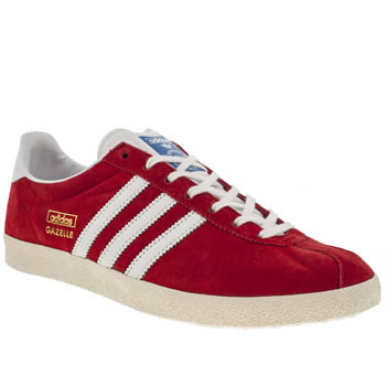 Mens Adidas Red Gazelle Og Trainers