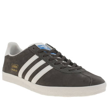 Mens Adidas Dark Grey Gazelle Og Trainers