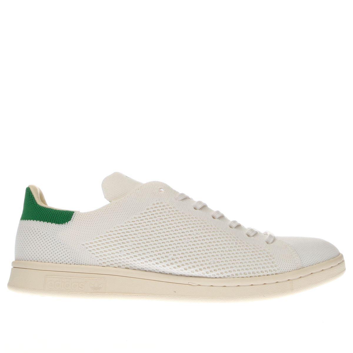 adidas white & green stan smith primeknit trainers
