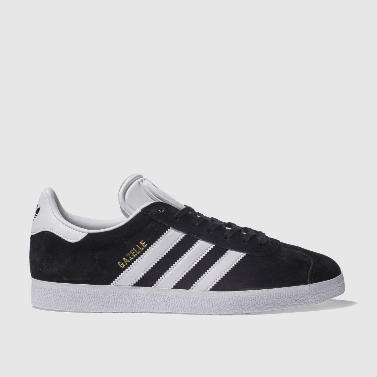 adidas black & white gazelle trainers