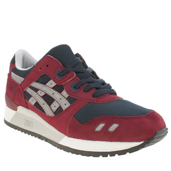 Mens Asics Burgundy Gel-lyte Iii Trainers