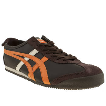 mens onitsuka tiger brown & orange mexico 66 trainers
