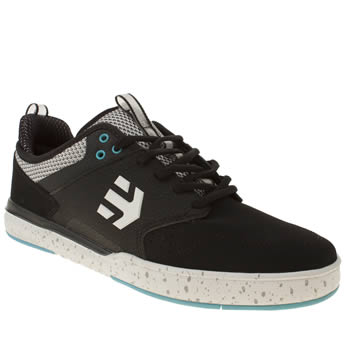mens etnies black & white aventa trainers