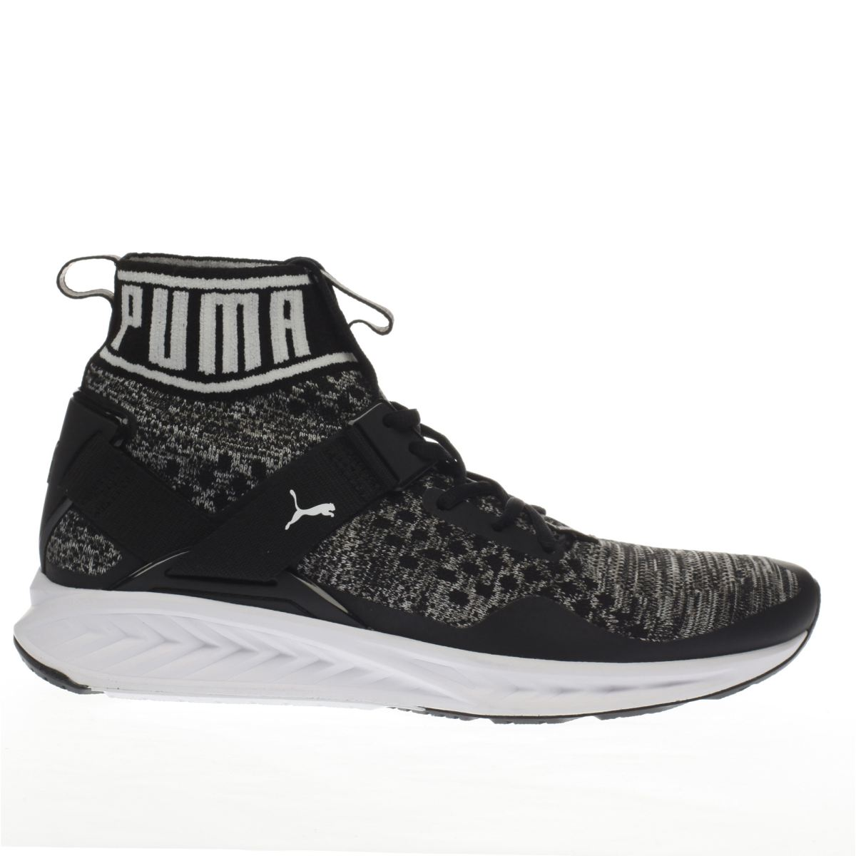 puma black & grey ignite 3 evoknit trainers