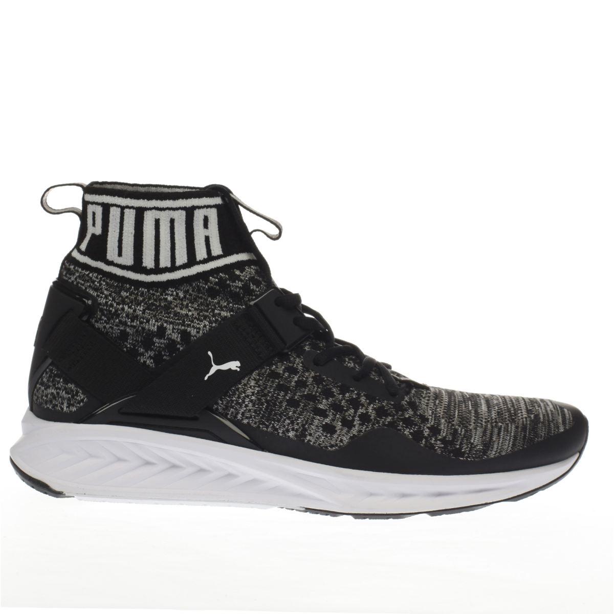 puma black & grey ignite 3 evoknit trainers