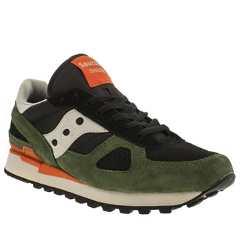 Mens Saucony Black & Green Shadow Original Trainers