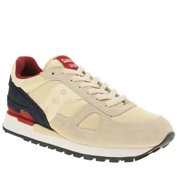 Mens Saucony Beige & Navy Shadow Original Trainers