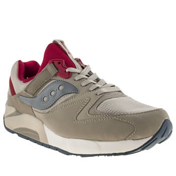 mens saucony beige & red grid 9000 trainers