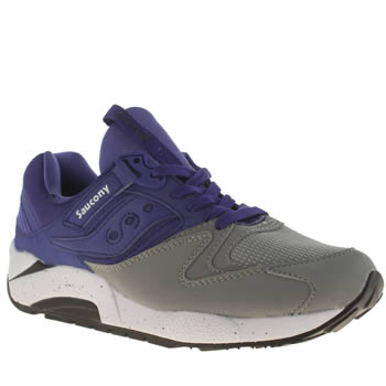 Saucony Grey & Purple Grid 9000 Trainers