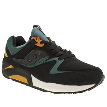 Mens Saucony Black & Green Grid 9000 Trainers
