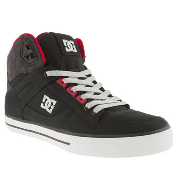Mens Dc Shoes Black & Red Spartan High Wc Tx Trainers