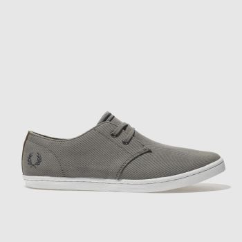 Mens Fred Perry Grey Byron Low Twill Trainers