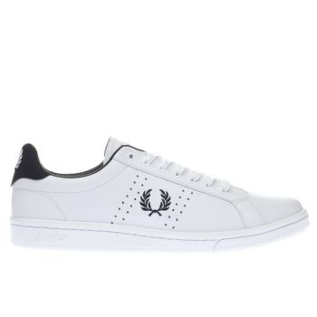 Fred Perry White & Navy B7211 Leather Trainers