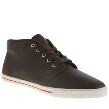 Mens Fred Perry Dark Brown Fletcher Leather Trainers