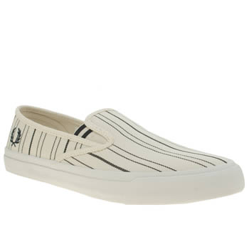Fred Perry White & Blue Turner Slip On Retro Stripe Trainers