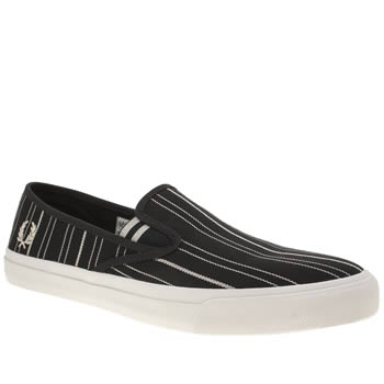 Fred Perry Navy & White Turner Slip On Retro Stripe Mens Trainers