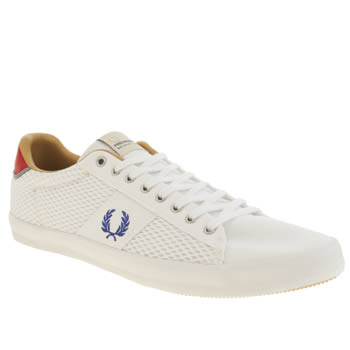Mens Fred Perry White & Blue Howells Mesh Trainers