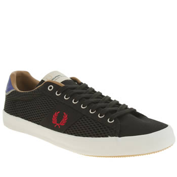 Mens Fred Perry Black & Red Howells Mesh Trainers