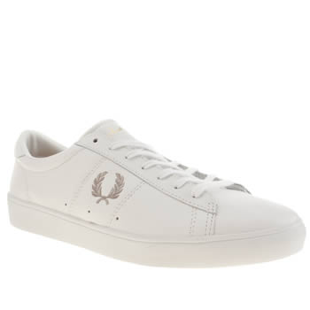 Mens Fred Perry White & Silver Spencer Trainers