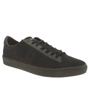 Mens Fred Perry Black & Grey Spencer Canvas Trainers