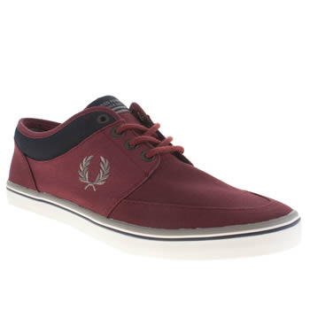 Mens Fred Perry Burgundy Stratford Trainers