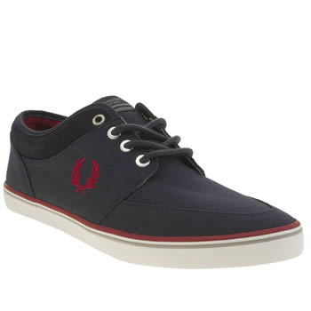 Mens Fred Perry Navy & Red Stratford Trainers