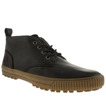 Mens Fred Perry Black Bramhall Mid Leather Trainers
