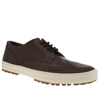 Mens Fred Perry Burgundy Ashton Leather Trainers