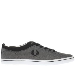 Fred Perry Grey & Black Hallam Mens Trainers