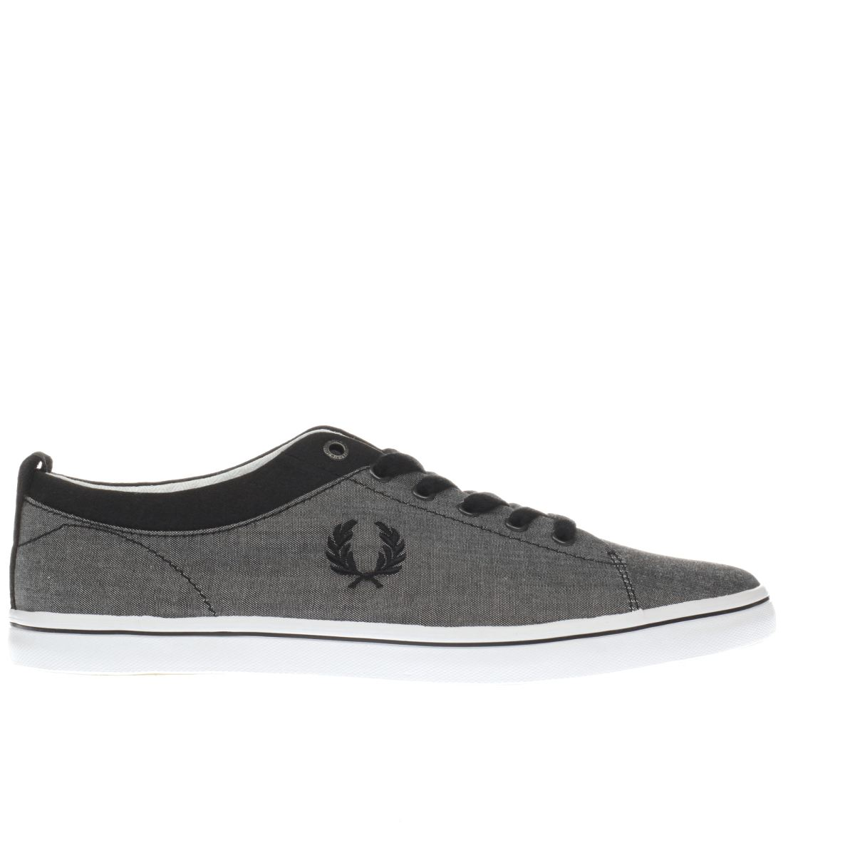 fred perry grey & black hallam trainers