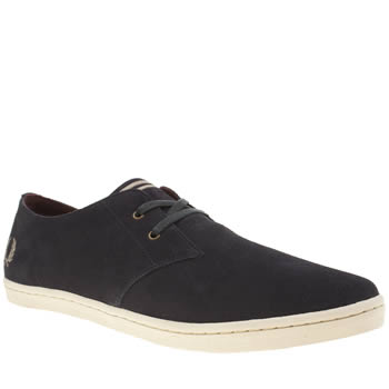 Mens Fred Perry Navy Byron Low Suede Trainers