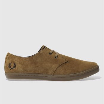 Mens Fred Perry Tan Byron Low Suede Trainers