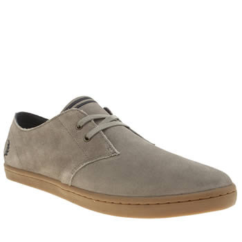 Mens Fred Perry Grey Byron Low Suede Trainers