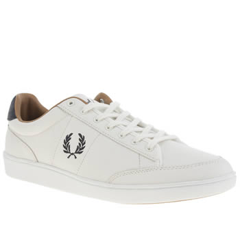 Mens Fred Perry White & Navy Hopman Trainers