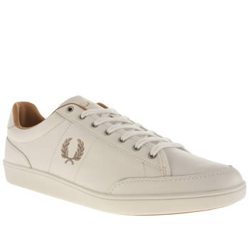 Mens Fred Perry White & Silver Hopman Trainers
