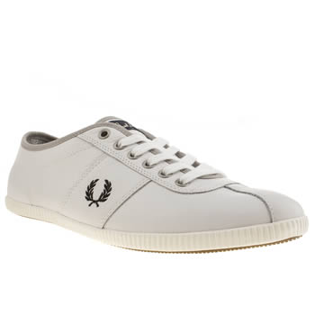 mens fred perry white & black hayes trainers
