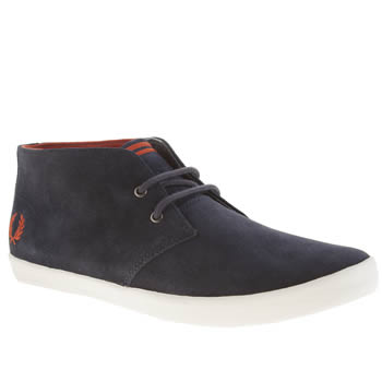 Mens Fred Perry Navy Byron Mid Suede Trainers