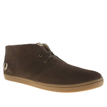 Mens Fred Perry Dark Brown Byron Mid Suede Trainers