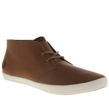 Mens Fred Perry Tan Byron Mid Trainers