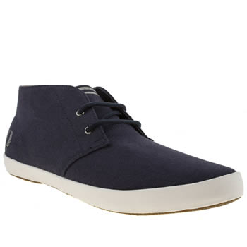 Mens Fred Perry Navy & Grey Byron Mid Trainers