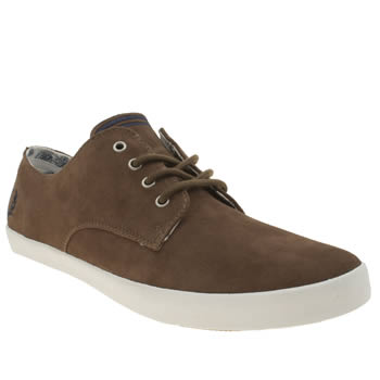 Mens Fred Perry Brown & White Foxx Trainers