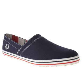 Mens Fred Perry Navy & White Kingston Stamp Down Trainers