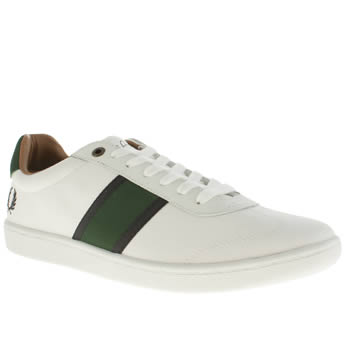 Mens Fred Perry White & Green Sebright Trainers