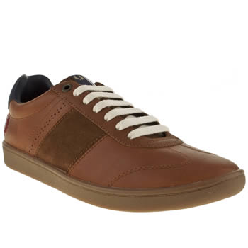 mens fred perry tan sebright leather trainers