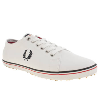 Mens Fred Perry White & Red Kingston Twill Trainers